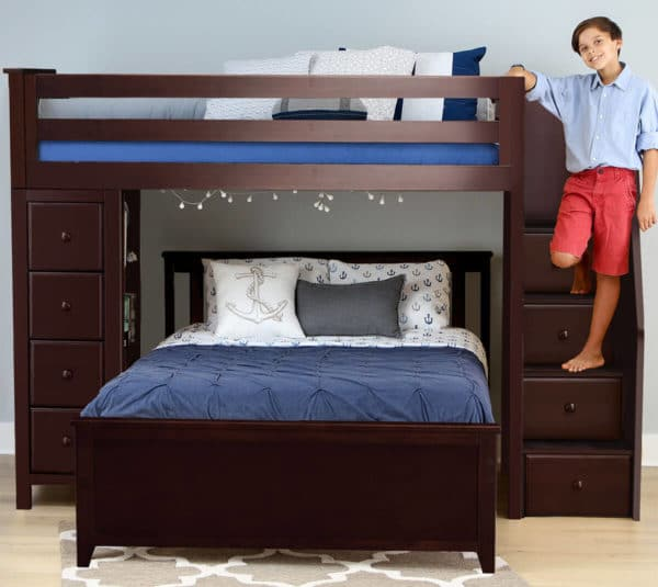 jackpot oxford twin full staircase loft bed with storage espresso front