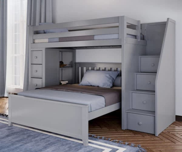 jackpot oxford twin full staircase loft bed with storage grey