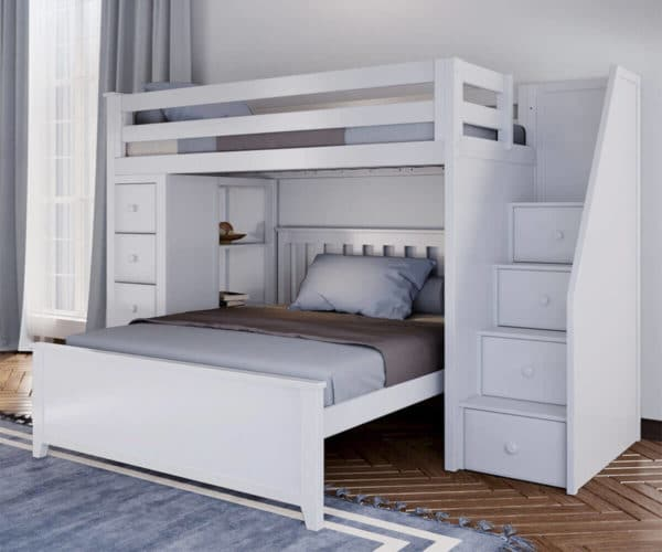 jackpot oxford twin full staircase loft bed with storage white