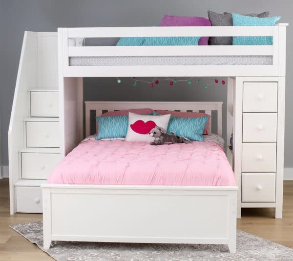 jackpot oxford twin full staircase loft bed with storage white front