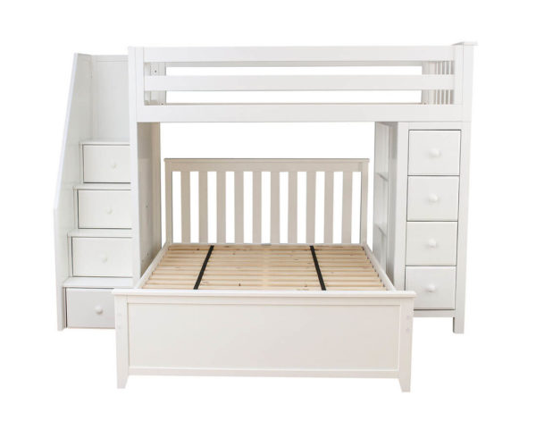 jackpot oxford twin full staircase loft bed with storage white front view