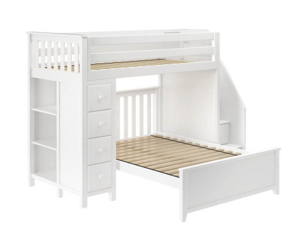 jackpot oxford twin full staircase loft bed with storage white left view
