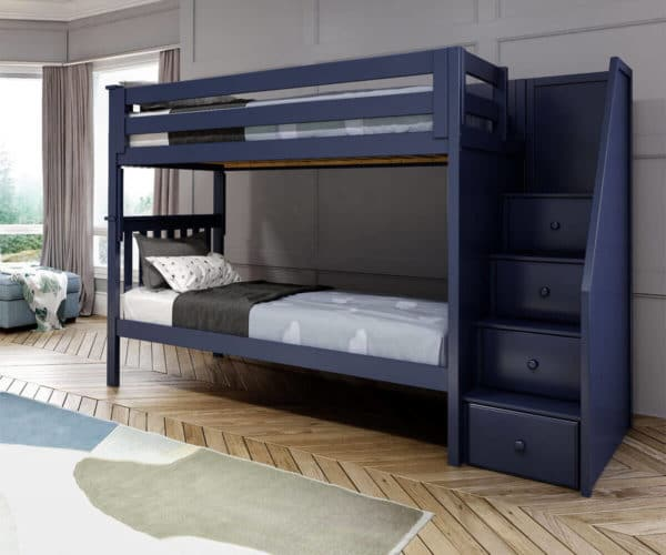 jackpot sunderland twin twin staircase bunk bed navy blue