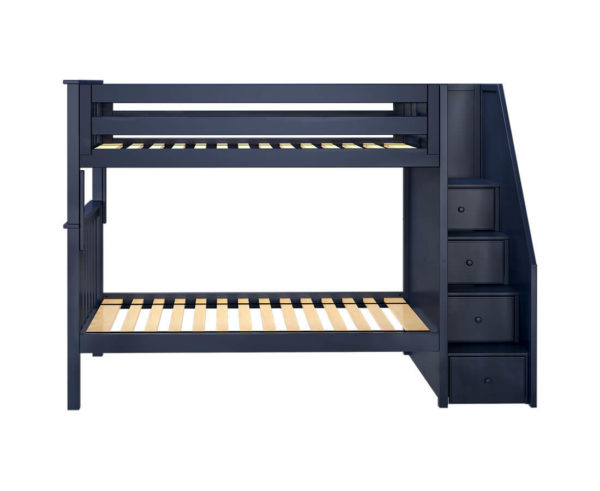 jackpot sunderland twin twin staircase bunk bed navy blue front view