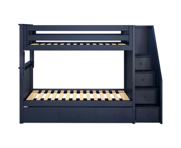 jackpot sunderland twin twin staircase bunk bed with trundle navy blue front angle
