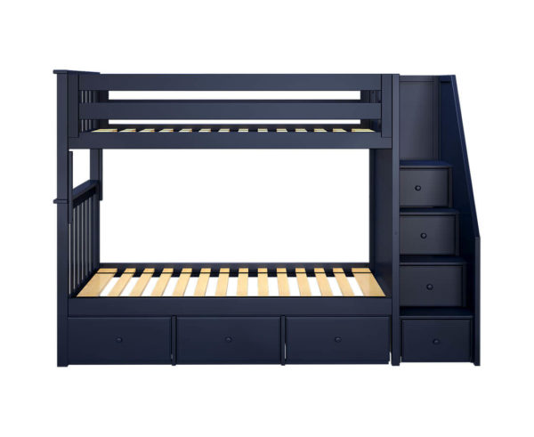 jackpot sunderland twin twin bunk bed navy blue underbed drawers front angle