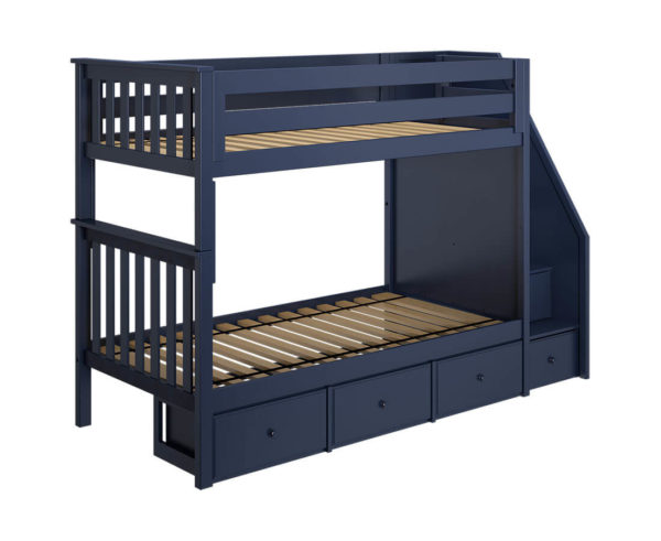 jackpot sunderland twin twin bunk bed navy blue underbed drawers left angle