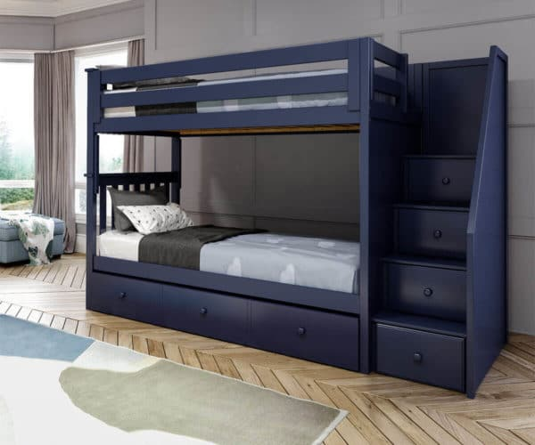 jackpot sunderland twin twin staircase bunk bed with trundle navy blue