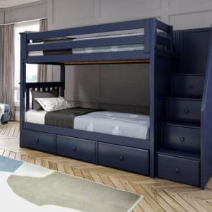 jackpot sunderland twin twin bunk bed navy blue underbed drawers