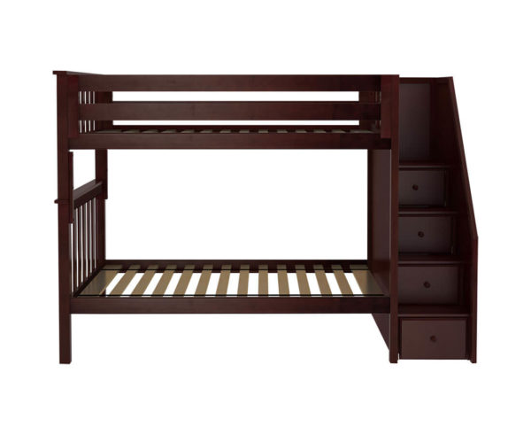 jackpot sunderland twin twin staircase bunk bed espresso front view
