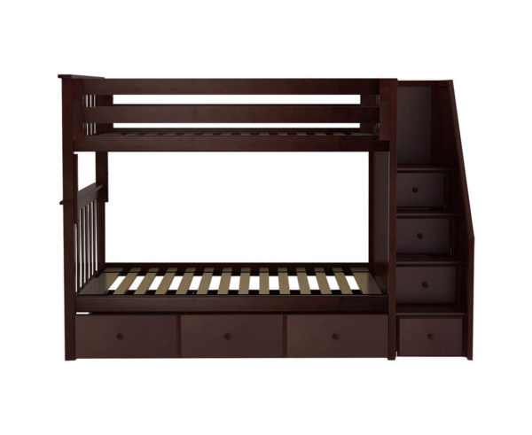 jackpot sunderland twin twin staircase bunk bed with trundle espresso front angle