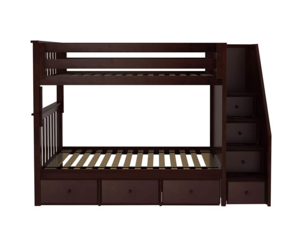 jackpot sunderland twin twin bunk bed espresso underbed drawers front angle