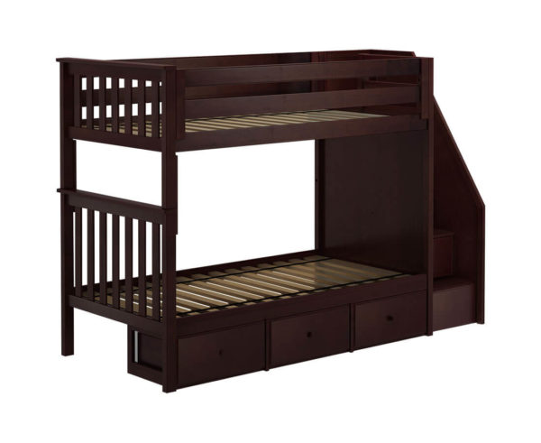 jackpot sunderland twin twin bunk bed espresso underbed drawers left angle