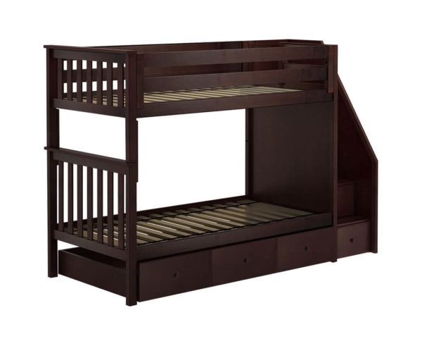 jackpot sunderland twin twin staircase bunk bed with trundle espresso left angle
