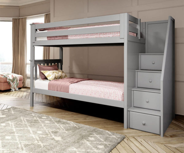 jackpot sunderland twin twin staircase bunk bed grey