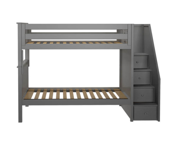 jackpot sunderland twin twin staircase bunk bed grey front view