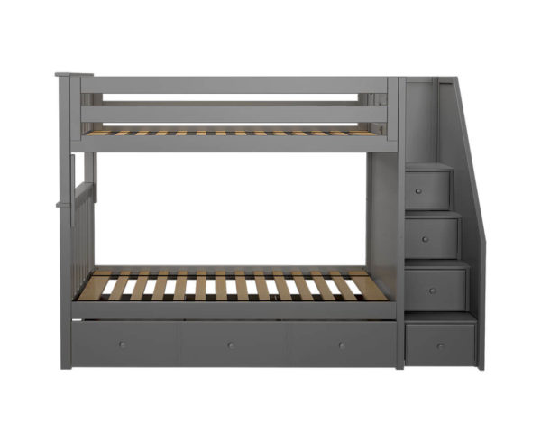 jackpot sunderland twin twin staircase bunk bed with trundle grey front angle