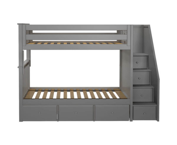 jackpot sunderland twin twin bunk bed grey underbed drawers front angle