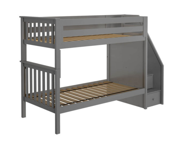 jackpot sunderland twin twin staircase bunk bed grey left view