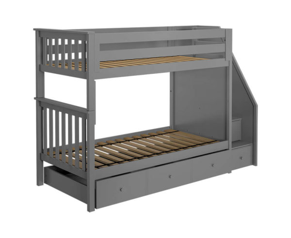 jackpot sunderland twin twin staircase bunk bed with trundle grey left angle