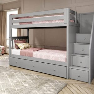 jackpot sunderland twin twin staircase bunk bed with trundle grey