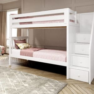 jackpot sunderland twin twin staircase bunk bed white