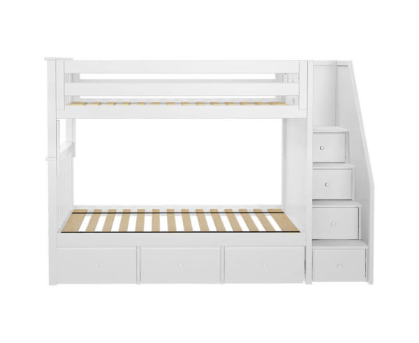 jackpot sunderland twin twin bunk bed white underbed drawers front angle