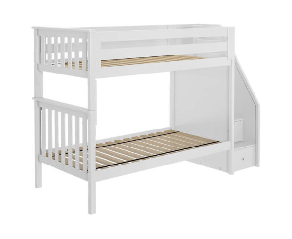jackpot sunderland twin twin staircase bunk bed white left view
