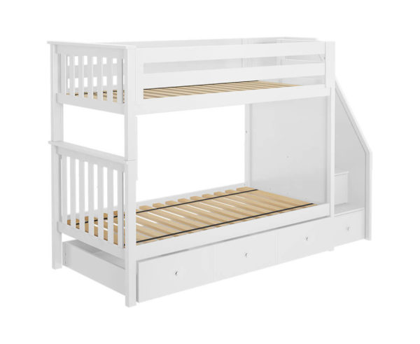 jackpot sunderland twin twin staircase bunk bed with trundle white left angle