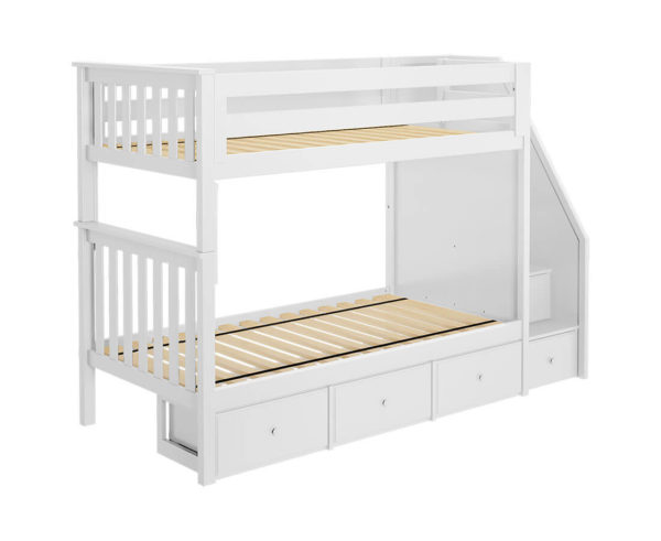 jackpot sunderland twin twin bunk bed white underbed drawers left angle