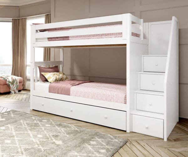 jackpot sunderland twin twin staircase bunk bed with trundle white