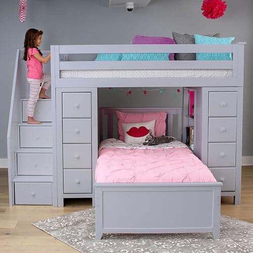 loft bed with stairs grey finish