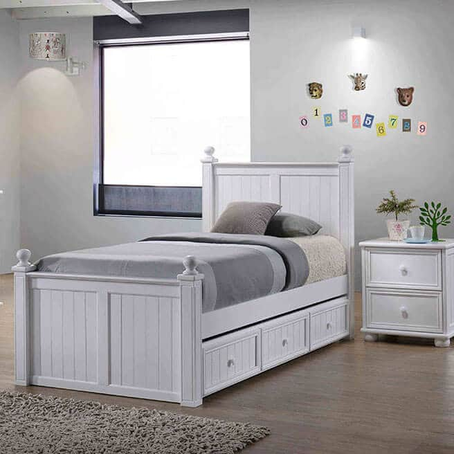 twin bed white finish