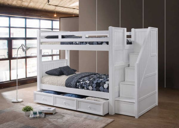 jay furniture twin over twin bunk bed with steps